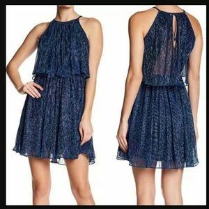 Endless Rose Blue Metallic Halter Mini Dress  M